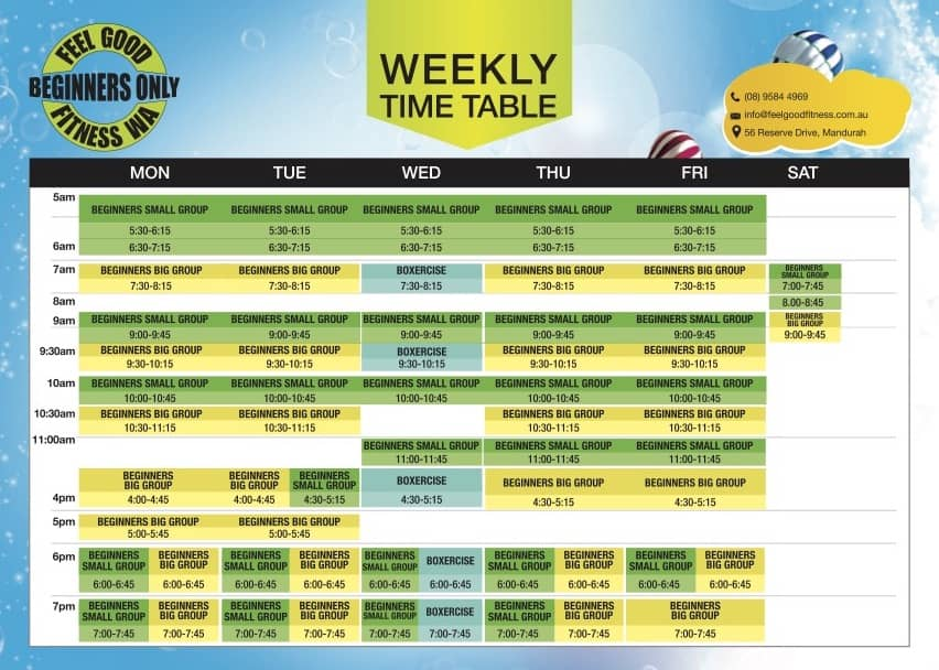 Feel Good Fitness Class Timetable